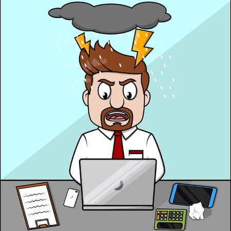 trabajando duro: ordenador portátil empleado enojado