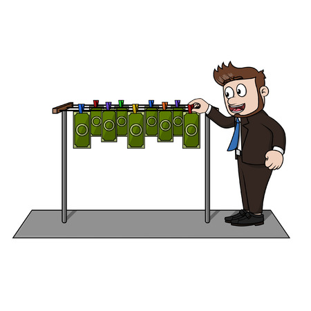 drying: Business man drying money Illustration