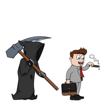 grim: Business man dangerous smoking with grim reaper