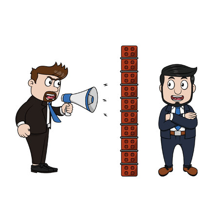 criticism: Angry boss shouts through megaphone. Employee blocks criticism with brick wall.