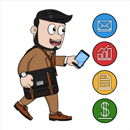 phone business: Business man phone notification Illustration