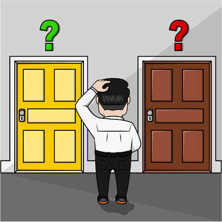 choosing: Business man confused choosing door