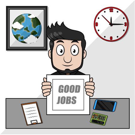 jobs: Business man show paper for good jobs