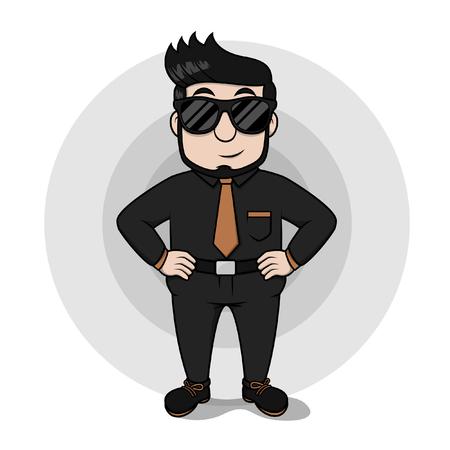 glasess: Eye glasess business man using black suit Illustration