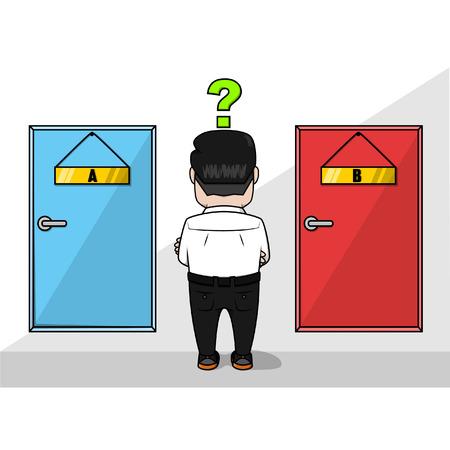 choosing: Business man confused choosing the door