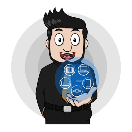 distractions: Entrenpreneur man showing digital technology Illustration