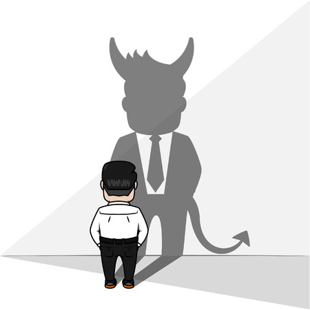 devil man: Business man devil shadow Illustration