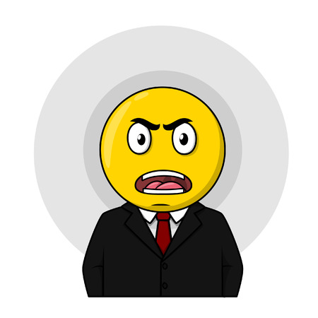 angry businessman: Angry businessman yellow circle head