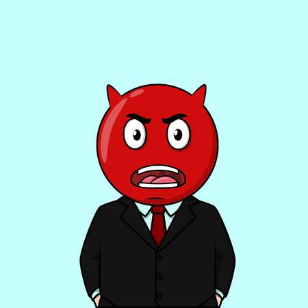 angry boy: Business man angry red emoticon