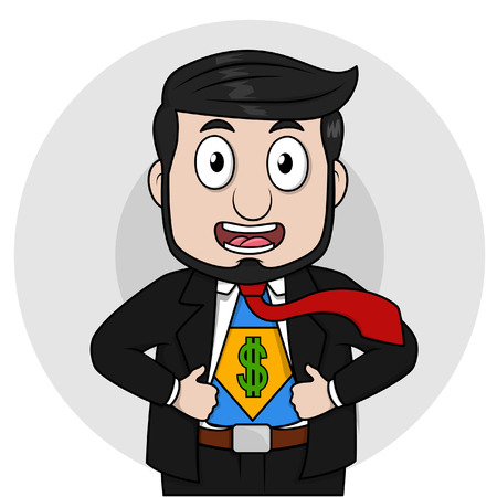 black business man: Black business man showing entrepreneur hero Illustration