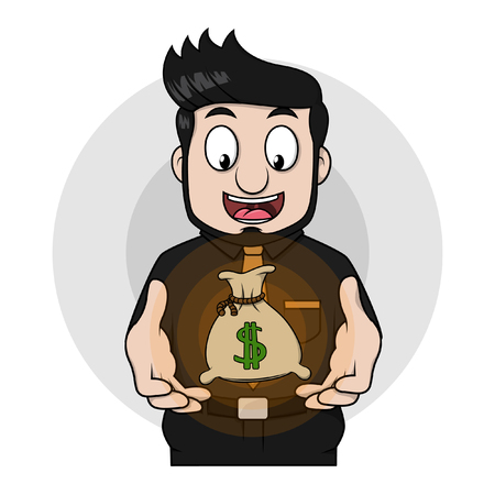 sacks: Business man money sacks