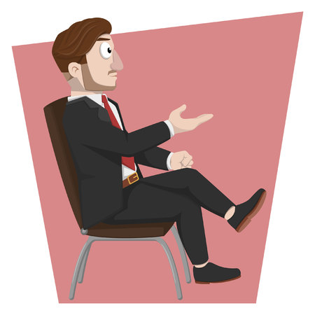 to sit: Business man sit on chair Illustration