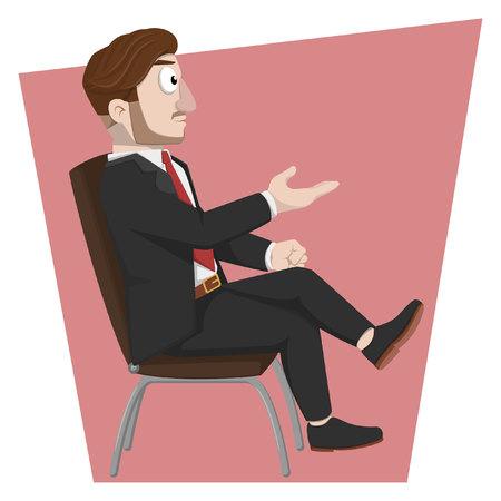 sit: Business man sit on chair Illustration