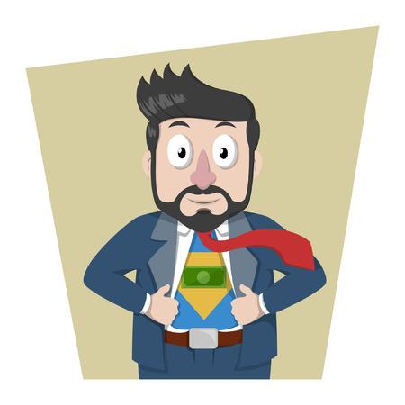 power of money: Business man showing money power Illustration