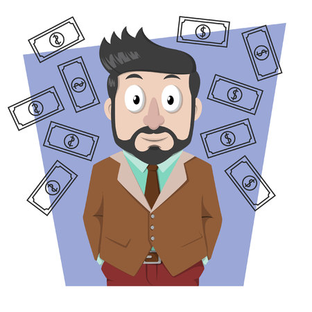 money rain: Business man beard showing money rain Illustration