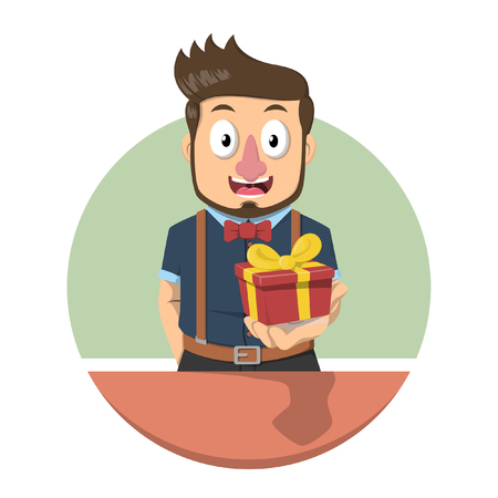 give a gift: Business man beard give a gift Illustration