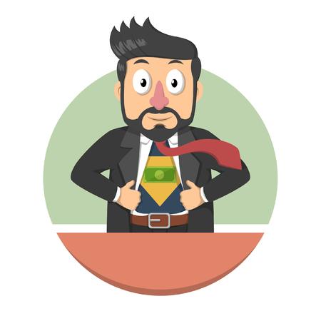 power of money: Business man illustration showing money power Illustration