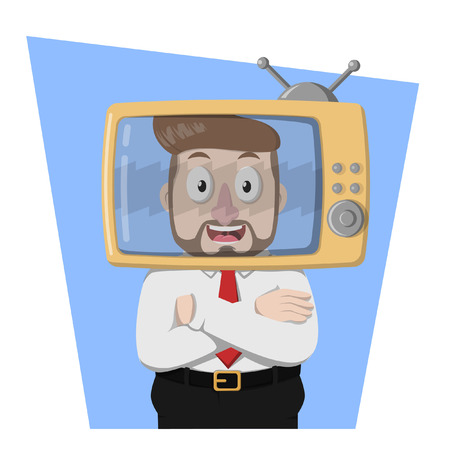 programme: Business man on TV programme Illustration
