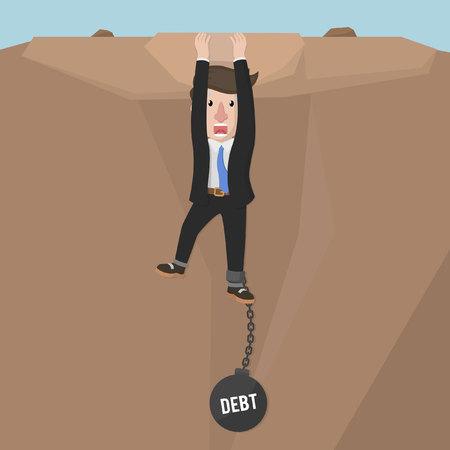 burden: Business man hanging with debt burden