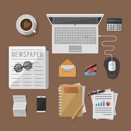 office desk: business man desk office Illustration