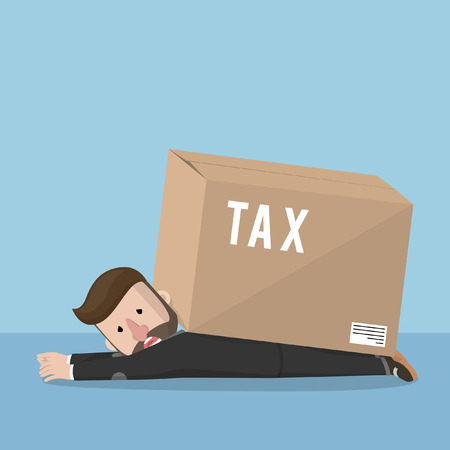 box weight: Business man bad day with tax box Illustration