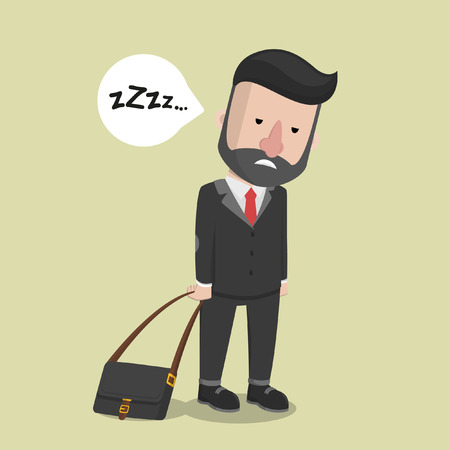 sleepy man: Business man feel sleepy