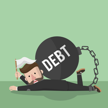 financial burden: Business man give up with debt bomb Illustration