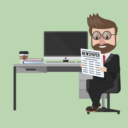 cartoon reading: Business man reading newspaper in office