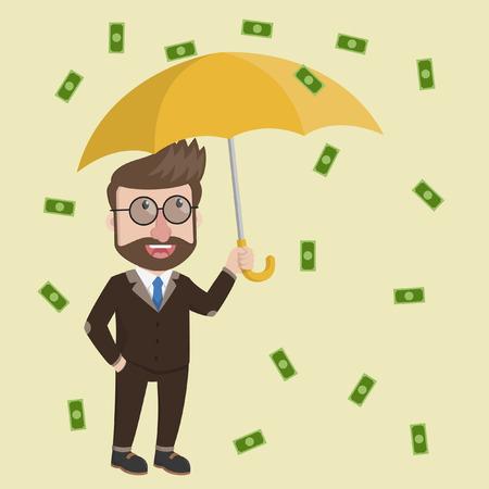 raining: Business man raining of money Illustration