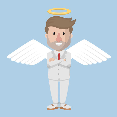 costum: Angel business man white costum