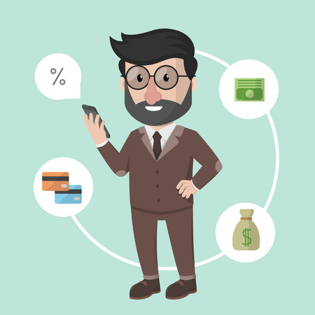 happy web: Business man online banking Illustration