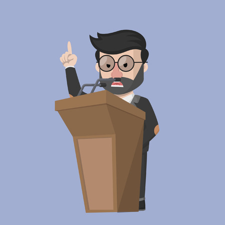 communication icons: Business man angry at podium
