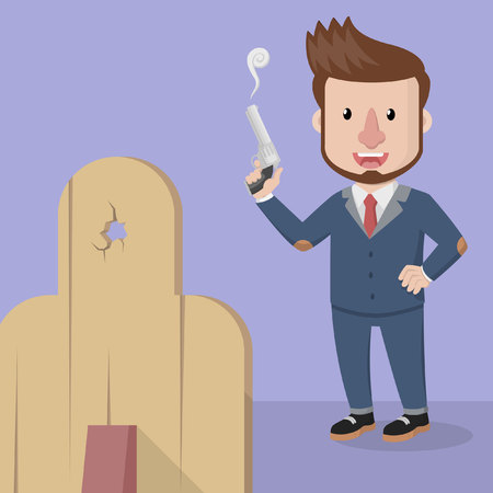 creative shot: Business man shoot on target Illustration