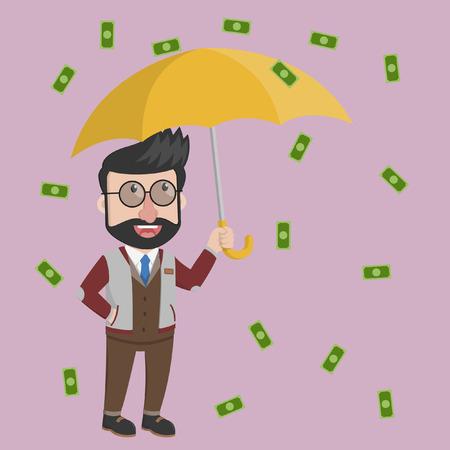raining: Businessman raining of money