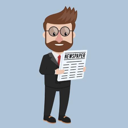man reading: Business man reading newspaper Illustration
