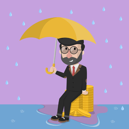 financial consultant: Business man money from rain problem