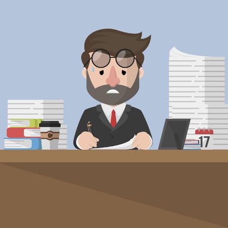 Business man erg moe aan het werk Stockfoto - 54695639