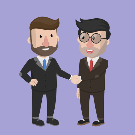 cartoon man: Business man good cooperation