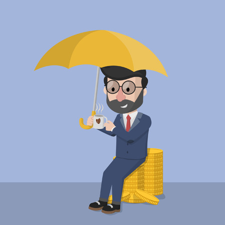 protect: Business man protect wealth Illustration