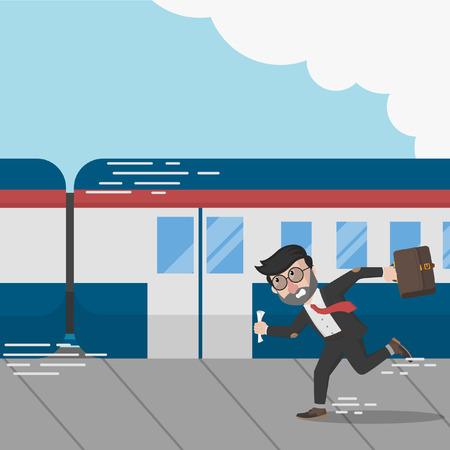 missed: Business man missed the train Illustration