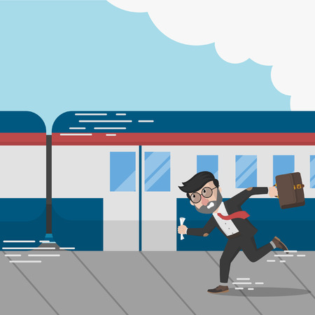 Business man missed the train Illustration