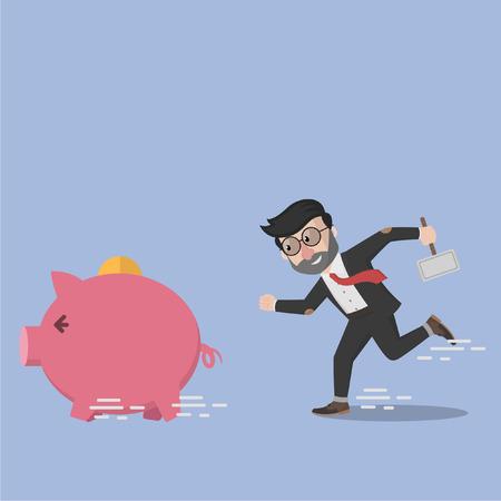 Business man want to destroy piggy bank Illustration