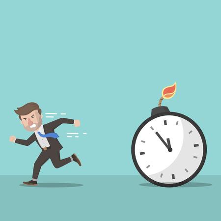run away: Business man run away from bomb time Illustration