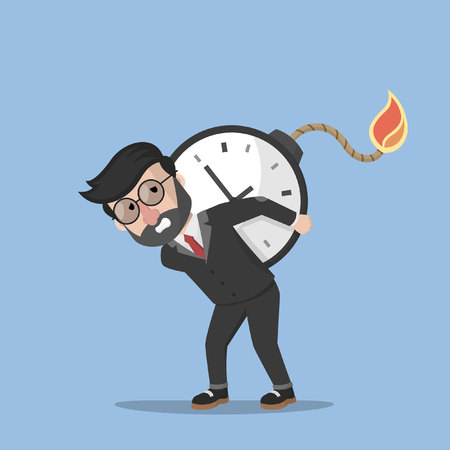 time run away: Business man bomb time Illustration