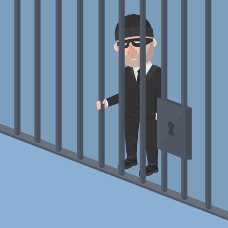 imprison: Business man thief inside jail