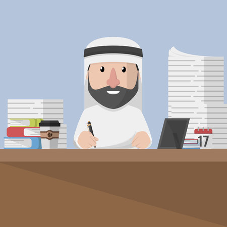 tasks: Arabic business man work many tasks