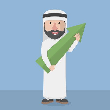 green arrow: Arabic business man holding grow green arrow