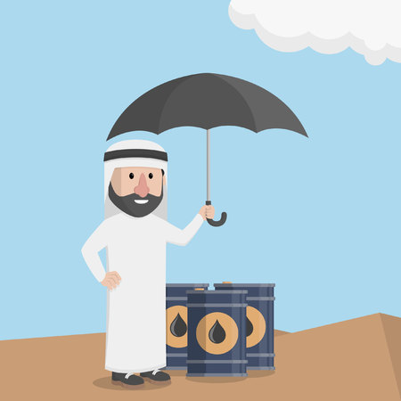 protect: Arabic business man protect oil