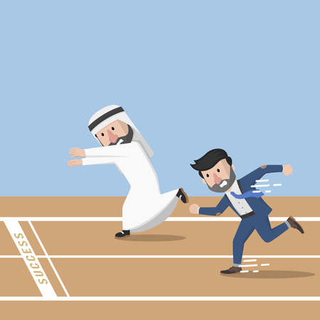 sucsess: Business man and arabic businessman copetition