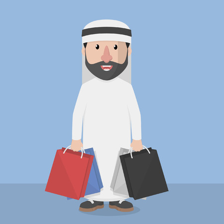 shopping people: Arabic business man with shopping bag